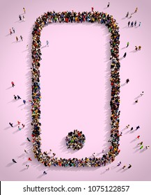 Large and diverse group of people seen from above gathered together on a pink background in the shape of a smartphone, top view, 3d illustration.