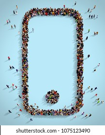 Large and diverse group of people seen from above gathered together on a blue background in the shape of a smartphone, top view, 3d illustration.
