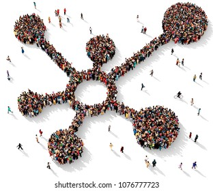 Large and diverse group of people seen from above gathered together in the shape of a diagram symbol, 3d illustration