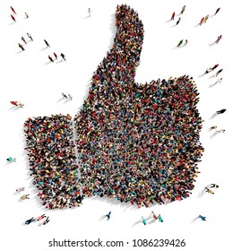 Large and diverse group of people seen from above gathered together in the shape of thumbs up symbol, 3d illustration