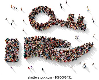 Large and diverse group of people seen from above gathered together in the shape of a hand holding a key, 3d illustration
