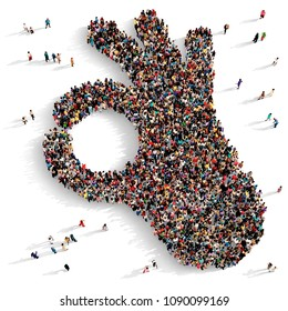 Large and diverse group of people seen from above gathered together in the shape of an Okay gesture, 3d illustration