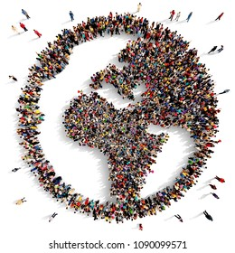Large and diverse group of people seen from above gathered together in the shape of the world map facing Europe and Africa, 3d illustration