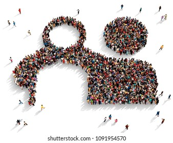 Large and diverse group of people seen from above gathered together in the shape of two pals symbol, 3d illustration