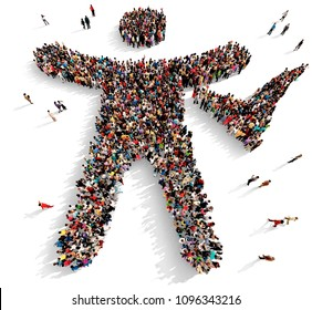 Large and diverse group of people seen from above gathered together in the shape of a man silhouette with a check mark sign, 3d illustration