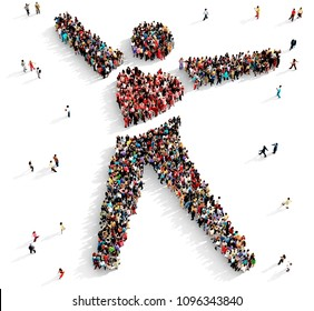 Large and diverse group of people seen from above gathered together in the shape of big hearted man symbol, 3d illustration