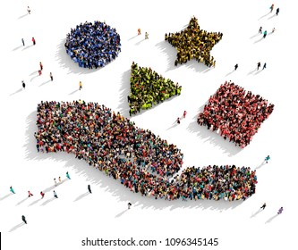 Large and diverse group of people seen from above gathered together in the shape of a hand holding different objects, 3d illustration
