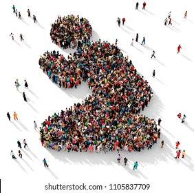 Large and diverse group of people seen from above gathered together in shape of a man praying on his knees, 3d illustration