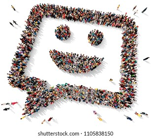Large and diverse group of people seen from above gathered together in shape of a smiley chat bubble, 3d illustration