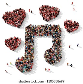 Large and diverse group of people seen from above gathered together in shape of a musical note surrounded by red hearts, 3d illustration