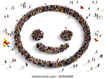 Large and diverse group of people seen from above gathered together in the shape of a smiling face