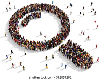 Large and diverse group of people seen from above gathered together in the shape of a magnifying glass