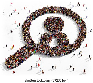 Large and diverse group of people seen from above gathered together in the shape of a magnifying glass searching people