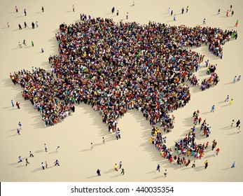 Large and diverse group of people seen from above gathered together in the shape of Asia map, vintage style, 3d illustration