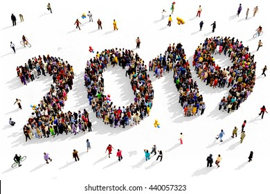 Large and diverse group of people seen from above gathered together in the shape of 2019, 3d illustration