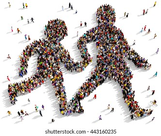 Large and diverse group of people seen from above gathered together in the shape of two silhouettes walking holding hands, 3d illustration