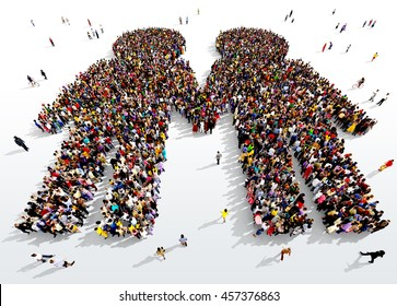 Large and diverse group of people seen from above gathered together in the shape of two people holding hands, 3d illustration