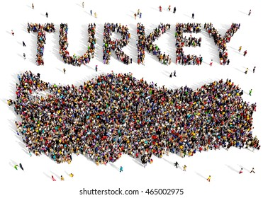 Large and diverse group of people seen from above gathered together in the shape of Turkey map, 3d illustration