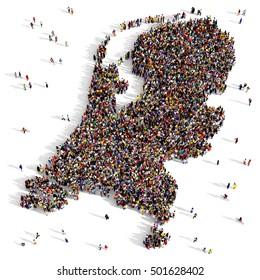 Large and diverse group of people seen from above gathered together in the shape of a Netherlands map, 3d illustration