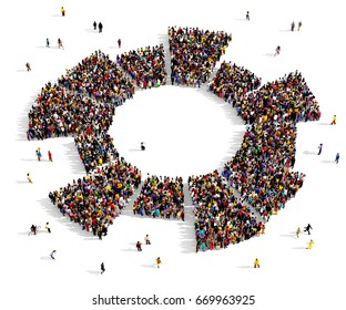 Large and diverse group of people seen from above, gathered together in the shape of a circle diagram, 3d illustration