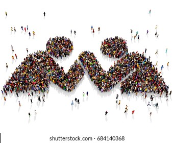 Large and diverse group of people seen from above, gathered together in the shape of two people arm wrestling, 3d illustration
