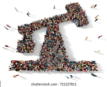 Large and diverse group of people seen from above, gathered together in the shape of an oil pump symbol, 3d illustration
