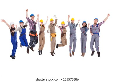 Large diverse group of workmen and women leaping in the air and cheering at the successful completion of a team project isolated on white