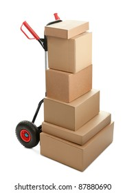 Large dolly with brown shipping boxes isolated on white background