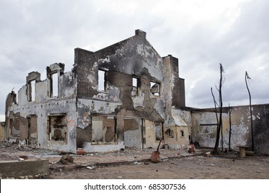 Large domestic house destroyed by a large raging fire