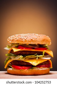 large double burger closeup fast food