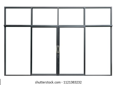 Large double open glass door isolated on white background, modern black window interior of front store for design