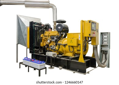 Large Electric Generator Emergency power supply in Generator Room. Powered by Diesel engine isolated on white background.