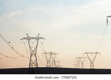 large electricity poles for energy distribution between cities
