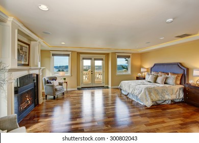 Large elegant master bedroom with silver bedding, hardwood floor, and fireplace.