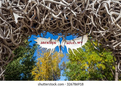Large elk antler arches curve over Jackson Town Square, Jackson Hole, Wyoming in USA