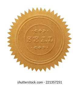 Large Embossed Gold Seal With Copy Space Isolated on White Background.