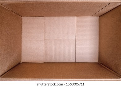 Large empty cardboard box close up. Wide angle view.