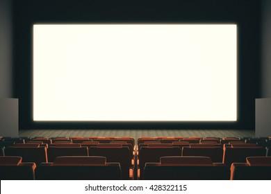Large empty cinema screen witn rows of seats. Mock up, 3D Rendering