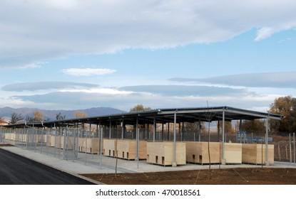 Large empty dog shelter in Sofia, Bulgaria
