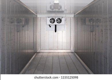 A large empty industrial refrigerated container. Such containers allow consumers to enjoy fresh produce at any time of year and consume fresh produce from other parts of the world