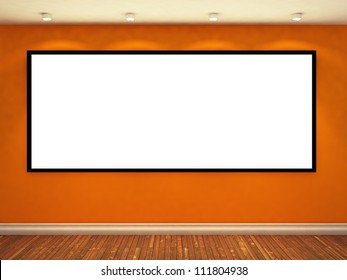large empty photo frame on yellow wall. exhibition concept. 3d illustration