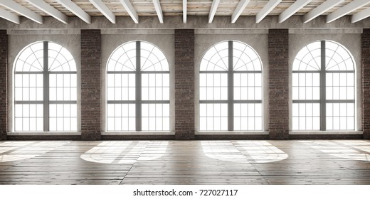 Large empty room in loft style with big arched windows illuminated by sunlight.Interior mock up with wooden floor and brick wall. 3D render.