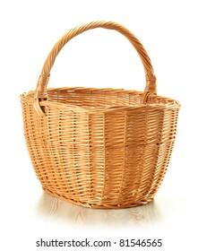 Large empty wicker basket isolated on white