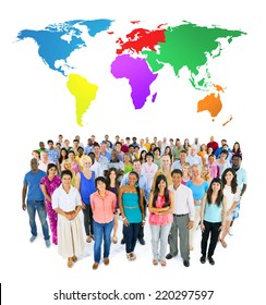 large ethnic group of people with colourful world's map
