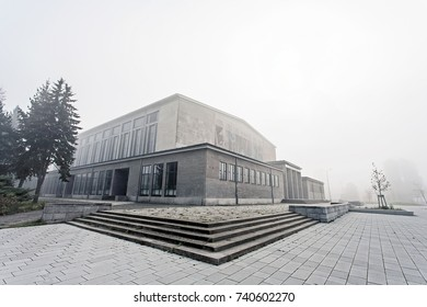 Large event hall during autumn morning fog - Berlin