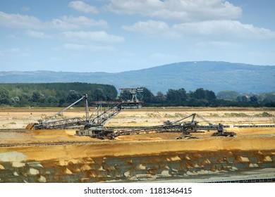 a large excavator digging coal open pit coal mine