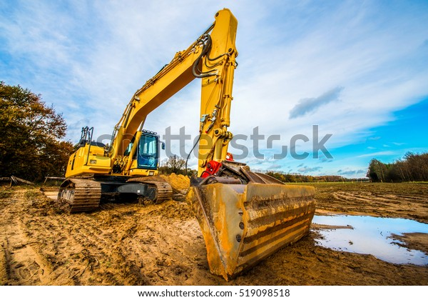 Large excavator on a field