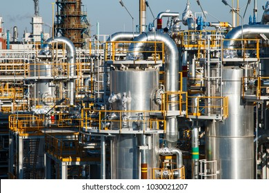 large factory equipment on blue sky background