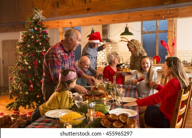 A large family are all helping serve Christmas dinner.