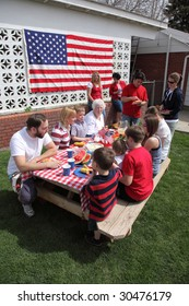 Large family gathering for a 4th of July barbeque